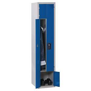 Vestiaire démontable EVP - élément suivant - 2 portes Z - l. 40 cm - gris/bleu