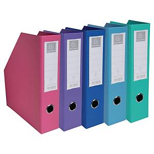 Exacompta PVC Flat-Packed Magazine Files, 70mm Spine, Pastel Colours - Pack 10