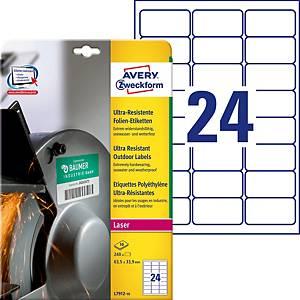 Étiquettes ultra-résistantes Avery Purpose Form L7912, 63,5 x 33,9 mm, blanc
