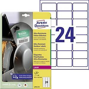 Ultra odolné etikety Avery Zweckform, rozměr 63,5 x 33,9, model L7912-10, 240 ks