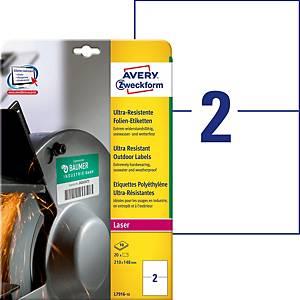 Étiquettes ultra-résistantes Avery Zweckform L7916, 210 x 148 mm, blanc