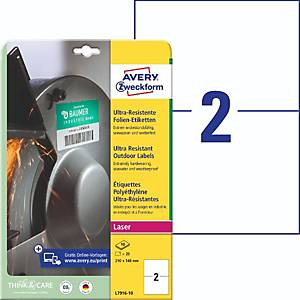 Folien-Etiketten Avery Zweckform L7916-10, ULTRA-RES., 210x148mm (LxB), 20 St.