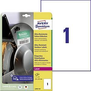 Avery ultraellenálló etikettek, modell: L7917-10, méret: 210 x 297 mm, fehér