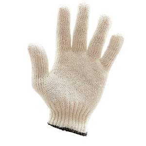 600G GLOVES COTTON PAIR FREE SIZE WHITE/BLUE PACK OF 12