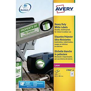 Avery L7060-20 Resistant Labels, 63.5 x 38.1 mm, 21 Labels Per Sheet