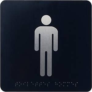 Pictogramme braille Pavo - toilettes hommes - aluminium