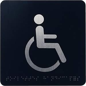 Pictogramme braille Pavo - toilettes handicapés - aluminium