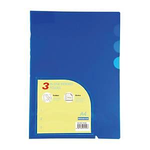 BINDERMAX 01049 3 IN ONE PLASTIC FOLDERS PP A4 150 MI BLUE