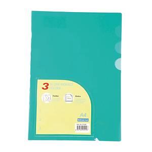 BINDERMAX 01049 3-Pocket Plastic Folders PP A4 Green