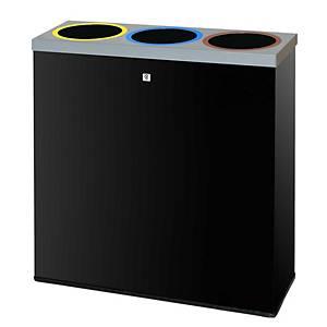 Caixote de reciclagem Cilindro P-77 - metal - 99 L - preto
