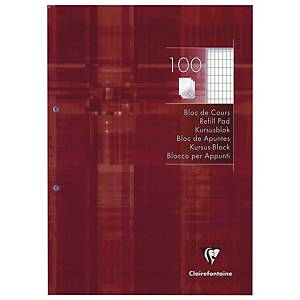 Clairefontaine notepad 2 perforations squared 4x8 21x29,7 cm 200 pages red