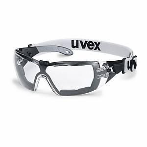 Schutzbrille UVEX pheos guard 9192, UV 2C-1,2, schwarz/grau, Scheibe farblos