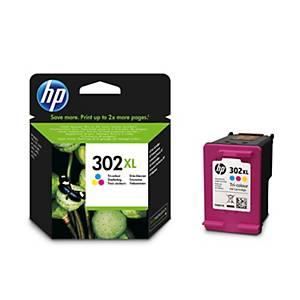 HP 302XL (F6U67AE) inkt cartridge, cyaan/magenta/geel, hoge capaciteit