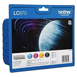 Brother LC-970 Inkjet Cartridge 4Pk B/C/M/Y