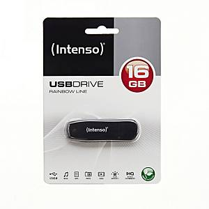 Speicher Stick Rainbow Line Intenso, 2.0, 16 GB, schwarz