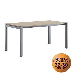 Scrivania Meco Office linea Arredo L 160 x P 80 x H 74 cm rovere / argento
