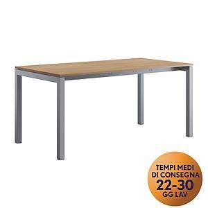 Scrivania Meco Office linea Arredo L 180 x P 80 x H 74 cm rovere / argento