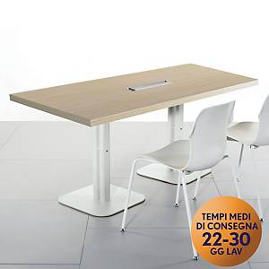 Tavolo riunione MecoOffice linea Arredo L 180 x P 100 x H 74 cm rovere / bianco