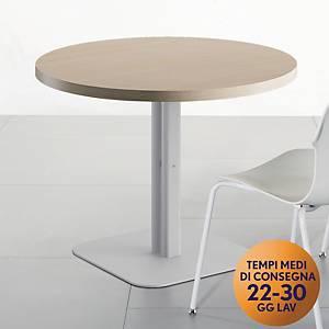 Tavolo riunione rotondo Meco Office linea Arredo Ø 100 x H 74 rovere / argento