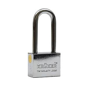 KRUKER PADLOCK CHROMIUM LONG LOOP 40MM