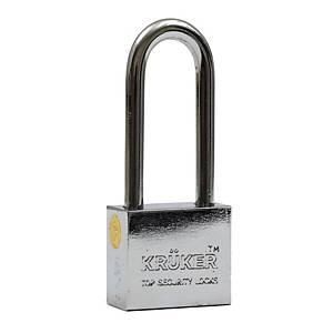 KRUKER กุญแจแขวนระบบลูกปืน โครเมี่ยม รุ่นเหลี่ยม คอยาว 50มม.