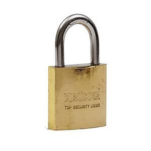KRUKER กุญแจแขวนระบบสปริงทอง คอสั้น 38มม.