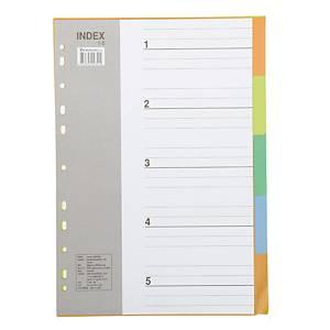 BENNON IX901 Plastic Paper Divider A4 1-5 Part 5 Colours