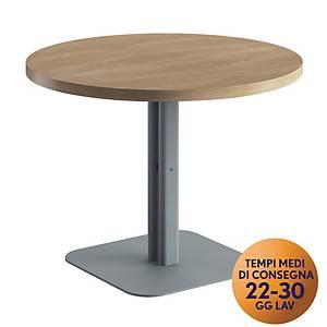 Tavolo riunione rotondo Meco Office linea Arredo Ø 100 x H 74 cm noce / argento