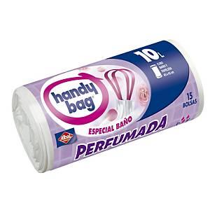 Rollo de 15 bolsas de basura Handy Bag - 10 L - densidad alta - blanco