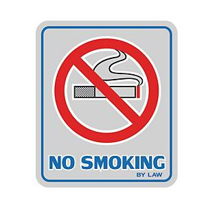SIGN STICKER NO SMOKING 8.5CM X 10CM SILVER