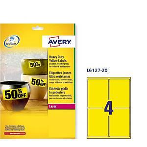 Caixa 80 etiquetas de poliéster Avery L6127-20 - 99,1x139 mm - amarelo