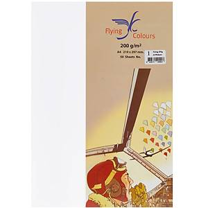 FLYING COLOR PAPER 200 GRAM A4 SNOW PACK OF 50 SHEETS