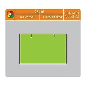 Cenové etikety S&K Label, 25 x 16 mm, contact, neonové zelené, 45 000 kusů