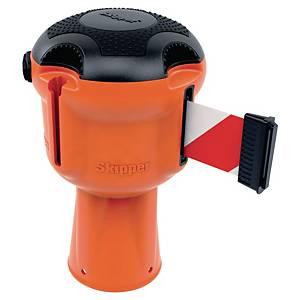 Kaseta z taśmą ostrzegawczą Skipper, pomarańczowa z czerwono-białą taśmą, 9 m