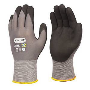 Skytec Aria Nylon Glove Grey With Black Nitrile Palm Coating Size 8 (Pair)