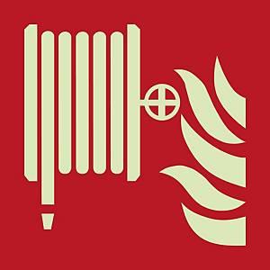 Signaux de lutte contre l'incendie, robinet d'incendie armé, 200x200 mm