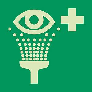 Signaux de sauvetage et d'évacuation, equipement de rinçage des yeux, 200x200 mm