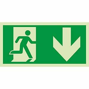 Signaux de sauvetage et d'évacuation, issue de sec. à gauche/bas, 300x150 mm