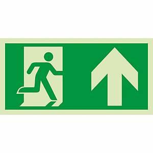Signaux de sauvetage et d'évacuation, issue de sec. à droite/haut, 300x150 mm