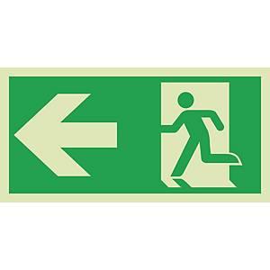 Signaux de sauvetage et d'évacuation, issue de sec. vers la gauche, 300x150 mm