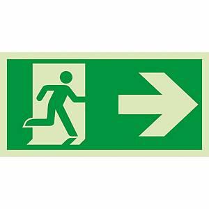 Signaux de sauvetage et d'évacuation, issue de sec. vers la droite, 300x150 mm