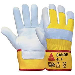 Arbeitshandschuhe Hase Sande, Leder, Größe 10, gelb/grau, 1 Paar