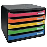 Lådsystem Exacompta Big Box Harlequin, 5 lådor, öppna lådor