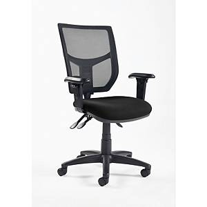 Altino High back Mesh Chair Black with Adjustbale Arms - Delivery Only