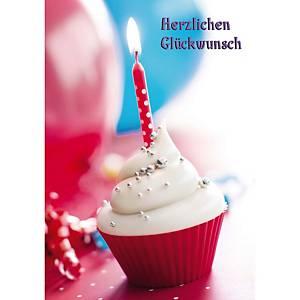 Doppelkarte Natur Verlag Geburtstag Cupcake, 122x175 mm, deutsch