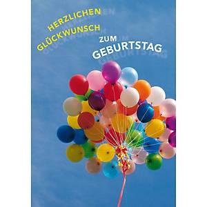 Doppelkarte Natur Verlag Geburtstag Ballone, 122x175 mm, deutsch
