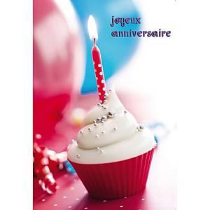 Doppelkarte Natur Verlag Geburtstag Cupcake, 122x175 mm, französisch