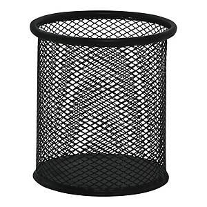 Pojemnik na długopisy siatkowy, czarny, okrągły