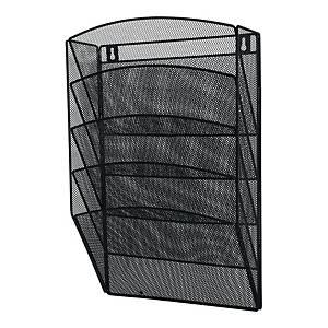 Zestaw 5 półek siatkowych ściennych A4, metalowy