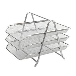 SAKOTA MESH LETTER TRAY 3-DRAWER SILVER